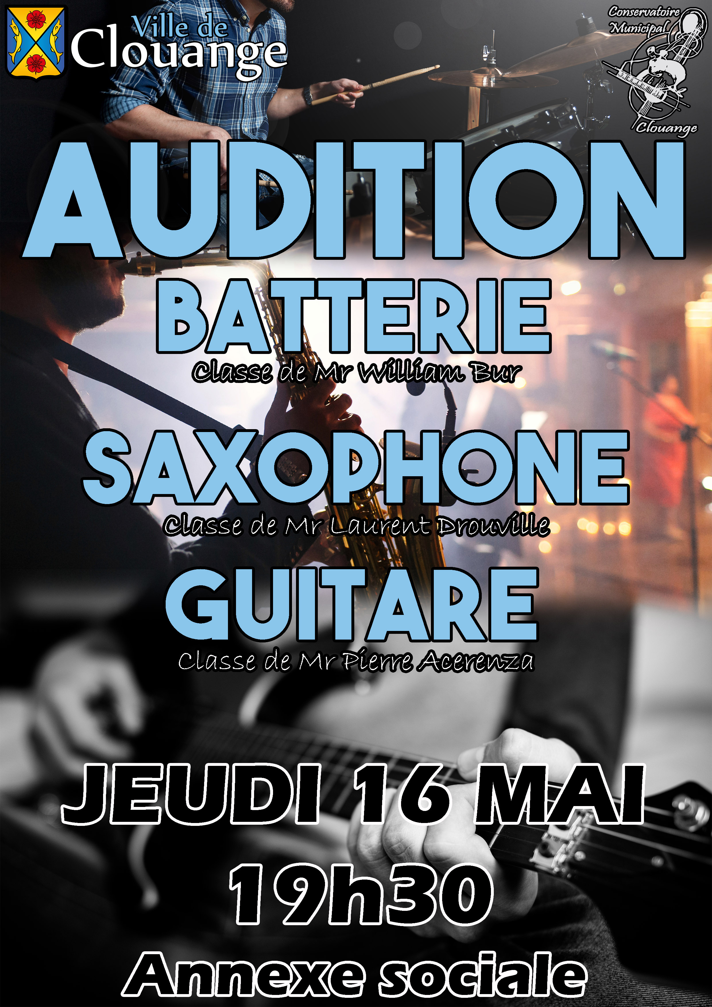 Audition de Batterie, Saxophone et Guitare